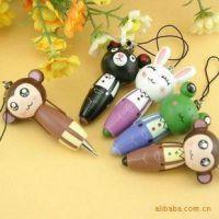 1105木制卡通可爱动物随身笔木制小短笔 卡通木质圆珠笔 手机挂件