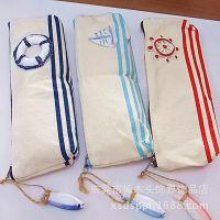 韩版欧美风帆布笔袋 可爱个性大容量条纹米色拉链文具袋 创意时尚
