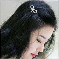 韩国原创网络饰品女人合金满钻蝴蝶结边夹发夹发饰刘海夹顶夹头饰