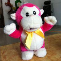 深圳毛绒玩具厂家 会走路电动猴子 录音毛绒小猴 DJ大嘴猴公仔