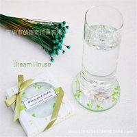 结婚庆典婚礼回礼 彩色情侣圆形绿叶欧美流行耐热手工艺玻璃杯垫