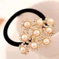 TS13韩国星星正品水钻发绳新款珍珠发圈头绳皮筋头饰品