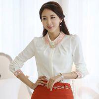 2014春装新款韩版修身雪纺长袖衬衫女长袖衬衫雪纺衫