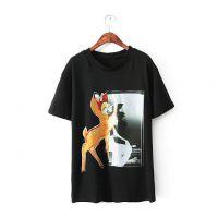 来自星星的你明星同款 小鹿印花休闲短袖T恤女ak-2479