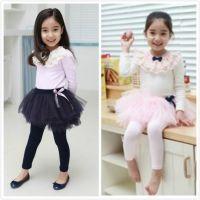 韩版蕾丝花边领结女童针织衫上衣 长袖百搭童打底衫 T恤厂家直销