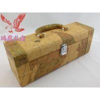 供应【鸿鹰包装】地图纹系列红酒包装盒 卡斯特红酒包装皮酒盒