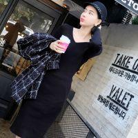 【艾琳沃】定制 秋冬必备 亲肤 显瘦抽条 大V领针织连衣裙