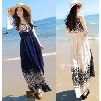 供应2014夏装新款女装 波西米亚无袖碎花雪纺连衣裙沙滩长裙A4070