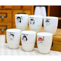 韩版zakka爸爸去哪儿陶瓷杯 萌娃经典语录小酒杯 创意礼品杯子