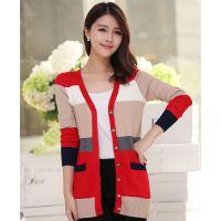 2014秋装新款韩版针织开衫女 长袖条纹小外套打底衫