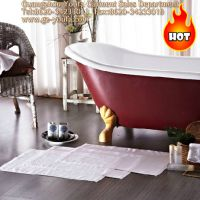 浴室防滑纯棉类地巾 50*80cm 提花 白色地巾 酒店地巾
