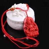 台湾天然朱砂吊坠 大横财神挂件项链 男女情侣一对红色辟邪饰品