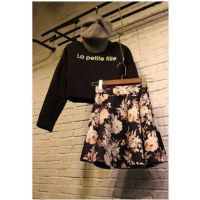 东大门 新款秋冬季字母印花衫+碎花短裙两件套连衣裙