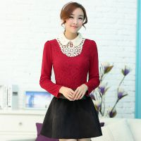 2014新款韩版高领加绒加厚蕾丝打底衫女娃娃领长袖上衣秋冬