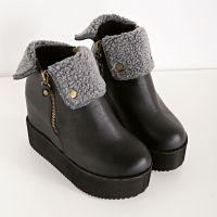 2014秋冬新款欧美厚底坡跟内增高短靴羊毛糕棉靴保暖女靴