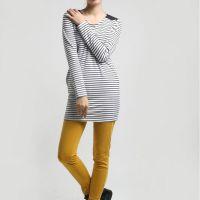 2014秋冬新款 中长款包臀打底衫 修身显瘦包臀裙T 韩版条纹长T恤
