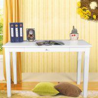 厂家直销 欧式家用餐桌实木白色书桌 办公桌 台式笔记本电脑桌子