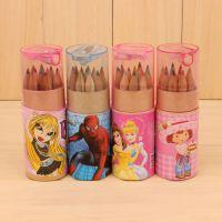 迪士尼儿童彩色铅笔 小学生筒装铅笔 12色彩色铅笔 学习文具用品
