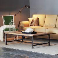 美式乡村实木家具原木铁艺茶几复古边几时尚沙发桌休闲桌咖啡桌