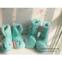 外贸冬季可爱卡通小象棉鞋毛绒居家室内地板女款式拖鞋包跟棉靴