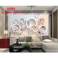 供应墙纸壁画 现代简约客厅沙发电视背景墙 3D立体手绘花纹 厂家直销