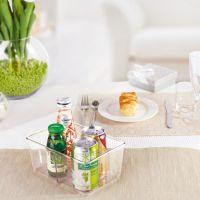 花意空间收纳盒 纯色透明两格优质PET塑料盒 内衣食品收纳盒