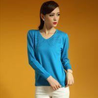 新款女士羊绒衫 V领镶钻打底衫 长袖毛衣 厂家直销