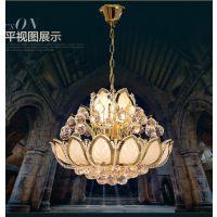 高档欧式 LED吸顶灯 莲花水晶灯 餐厅水晶灯 客厅吊灯 水晶吊灯