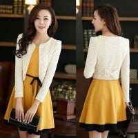 两件套连衣裙长袖女秋季新款韩版拼色连衣裙搭配小开衫二件套潮
