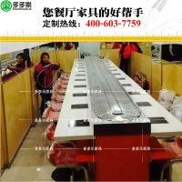 深圳旋转小火锅设备厂家 大理石材质吧台 夹板底脚 电磁炉小火锅吧椅配送 中式