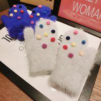 韩国东大门 圣诞七彩色球球兔毛可爱手套