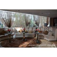 巨形半圆形异形沙发|黑檀木饰面大沙发|售楼处大件坐具|