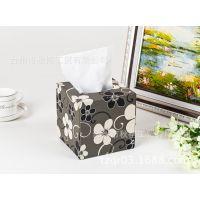 批发直销 碎花皮革纸巾盒 广告纸巾盒 餐巾纸盒可定做可拿