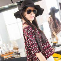 2016外贸原单女装新品蝙蝠袖上衣女式t恤 性感露肩雪纺衫SH99042