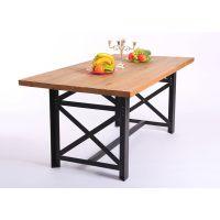北欧咖啡茶餐厅桌椅 实木家具 原木复古铁艺餐桌 书桌 会议桌