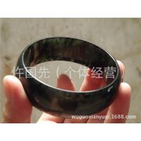 墨绿玉手镯 透绿宽条玉镯首饰 天然工艺品W02