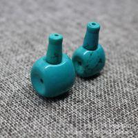 DIY饰品配件 天然藏式天蓝色老绿松石三通佛头美国原矿石散珠批发