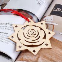 厂家大批量批发 木质圣诞礼品挂饰 激光镂空星星挂件