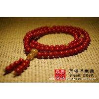 正品现货供应 天然台湾朱砂佛珠项链5mm*108颗 精品女士挂件