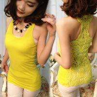 新女装韩版镂空小背心 吊带打底衫 中长款背心女 吊带背心批发