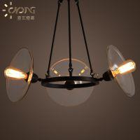 美式乡村玻璃吊灯复古简约欧式创意3头客厅餐厅吊灯个性灯具灯饰
