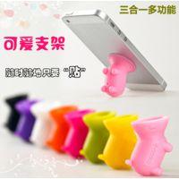 手机配件吸盘 三星 苹果 小猪吸盘 创意支架 通用型手机支架