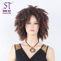 广州发制品厂家直销 黑人时尚假发批发定制 非洲黑人女士棕色卷发