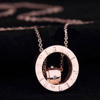 宝家环中环锁骨链镶钻圆环钛钢玫瑰金情侣款项链批发欧美市场热卖