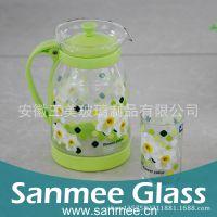 工厂直销热转印玻璃冷水壶 居家玻璃套壶 家庭节日礼品专用冷水壶