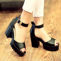 外贸2015夏季新款鱼嘴凉鞋女罗马高跟欧美风女鞋粗跟大码女鞋子