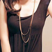 配饰市场钛钢玫瑰金双层毛衣链 外贸长款项链蛇骨夸张时尚粗项链