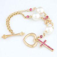 韩版时尚 淑女配搭闪钻十字架珍珠爱心个性手链