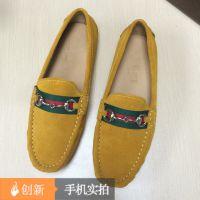 欧洲站大牌新款冬季保暖休闲反毛软底真皮豆豆鞋广州外贸女鞋