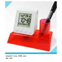 电子笔筒闹钟 水动力钟 创意闹钟 塑料钟表水能时钟 生产厂家